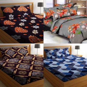Cotton King Size Double Bedsheet Combo