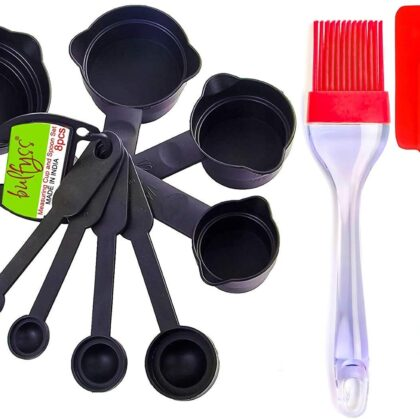 Measuring Cups Spoons Set, Silicone Spatula and Brush Set