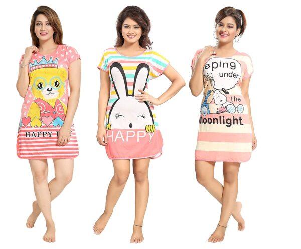 Womens Short Nighty Pack Of 3